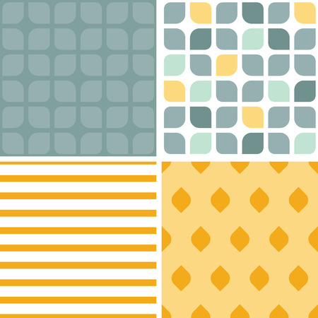 Vector abstract gray yellow rounded squares set of four marching repeat patterns Illustration