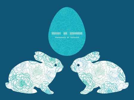 rabbit silhouette: Vector blue line art flowers bunny rabbit silhouette Easter frame Illustration