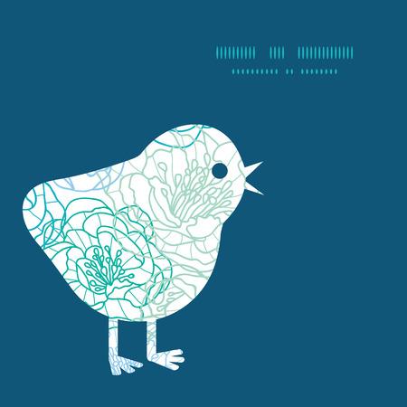 streckbilder: Vector blue line art flowers chicken silhouette Easter frame Illustration