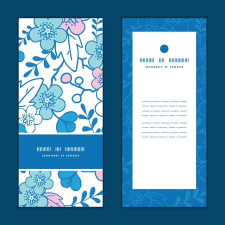 Vector blue and pink kimono blossoms vertical frame pattern invitation greeting cards set Illustration