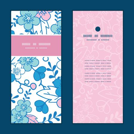 japanese garden: Vector blue and pink kimono blossoms vertical frame pattern invitation greeting cards set Illustration