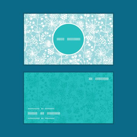 vertical garden: Vector blue and white lace garden plants vertical round frame pattern business cards set