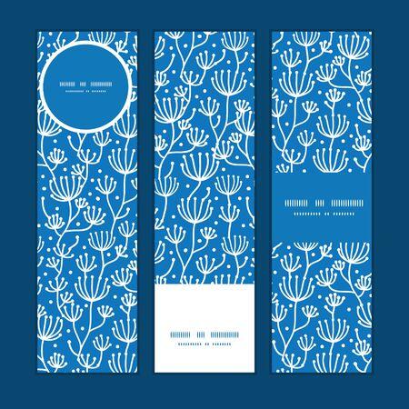 Vector blue white lineart plants vertical banners set pattern background Illustration