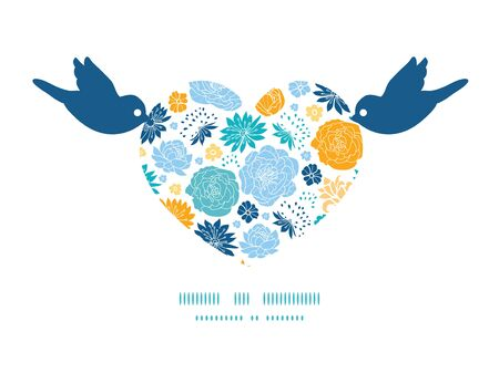 Vector blue and yellow flowersilhouettes birds holding heart silhouette frame pattern invitation greeting card template