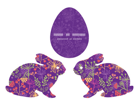 rabbit silhouette: Vector colorful garden plants bunny rabbit silhouette Easter frame