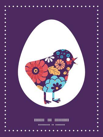 ramo de flores: Vector colorido ramo de flores silueta pollo Marco de Pascua