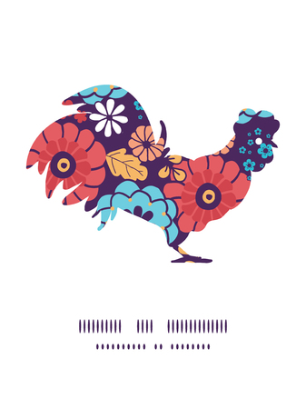 chinese astrology: Vector colorful bouquet flowers rooster silhouette Easter frame