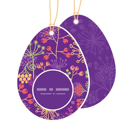 egg shaped: Vector colorful garden plants Easter egg shaped tags set template Illustration