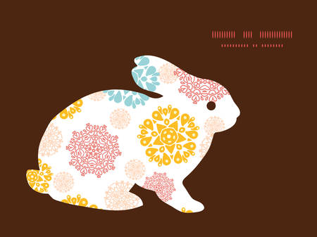 wheal: Vector abstract decorative circles stars bunny rabbit silhouette Easter frame Illustration