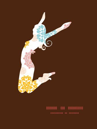 Vector cerchi decorativi astratti stelle saltando ragazza silhouette modello cornice Archivio Fotografico - 36481512