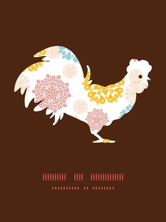 chinese astrology: Vector abstract decorative circles stars rooster silhouette Easter frame Illustration