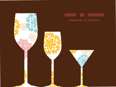 wheal: Vector abstract decorative circles stars three wine glasses silhouettes pattern frame Illustration