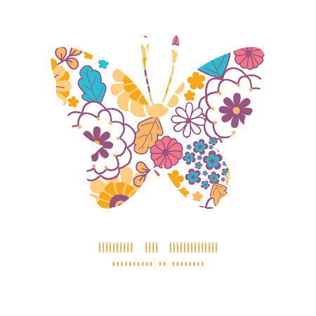 butterfly silhouette: Vector colorful oriental flowers butterfly silhouette pattern frame
