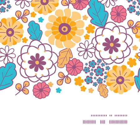 flowers horizontal: Vector colorful oriental flowers horizontal frame seamless pattern background