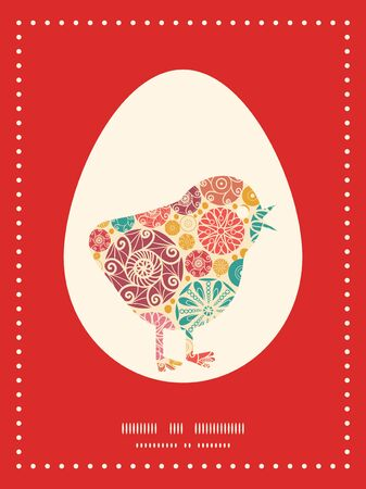 wheal: Vector abstract decorative circles chicken silhouette Easter frame Illustration