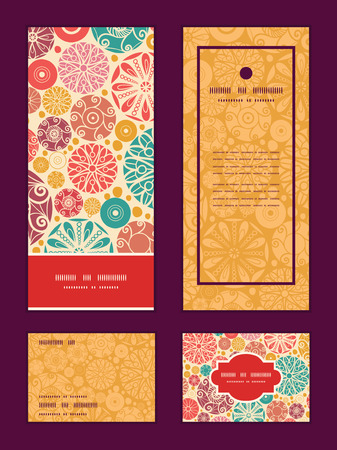 Vector abstract decorative circles vertical frame pattern invitation greeting, RSVP and thank you cards set