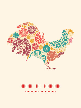wheal: Vector abstract decorative circles rooster silhouette Easter frame