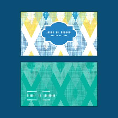 Vector colorful fabric ikat diamond horizontal frame pattern business cards set Vettoriali