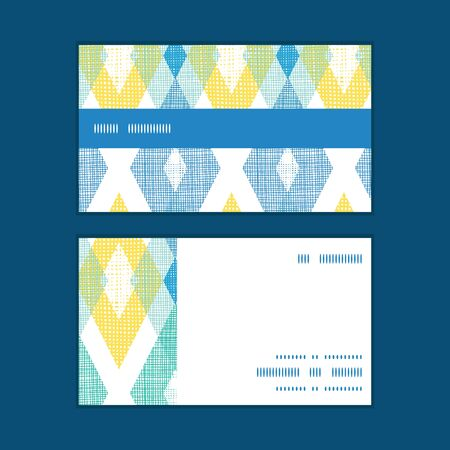 Vector colorful fabric ikat diamond horizontal stripe frame pattern business cards set