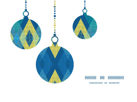 Vector colorful fabric ikat diamond Christmas ornaments silhouettes pattern frame card template