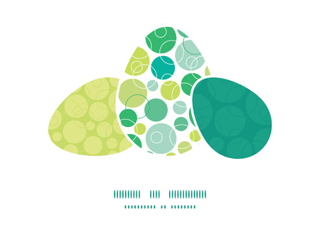 matching: Vector abstract green circles three matching Easter egg sillhouettes frame card template