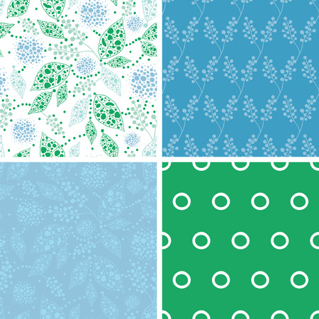 Vector abstract blue and green leaves set of four marching repeat patterns backgrounds Ilustracja