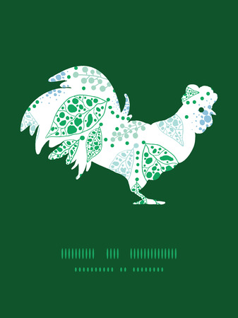 chinese astrology: Vector abstract blue and green leaves rooster silhouette Easter frame Illustration