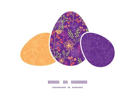 matching: Vector colorful garden plants three matching Easter egg sillhouettes frame card template Illustration