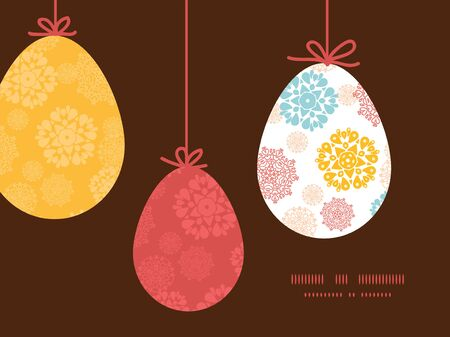 wheal: Vector abstract decorative circles stars hanging Easter eggs ornaments sillhouettes frame card template