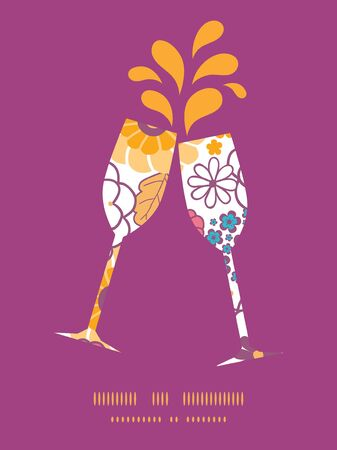 toasting wine: Vector colorful oriental flowers toasting wine glasses silhouettes pattern frame