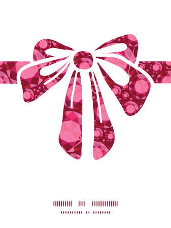 Vector ruby gift bow silhouette pattern frame