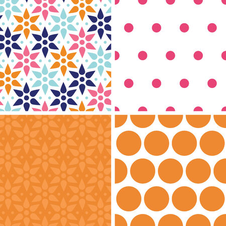 Vector abstract colorful stars set of four marching repeat patterns backgrounds Vector