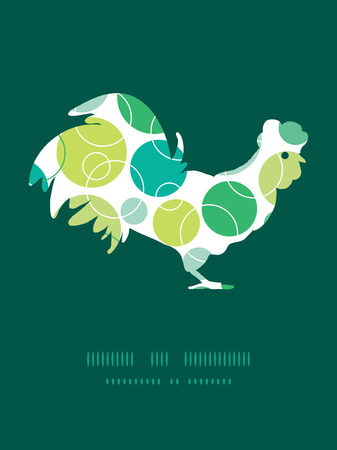 chinese astrology: Vector abstract green circles rooster silhouette Easter frame
