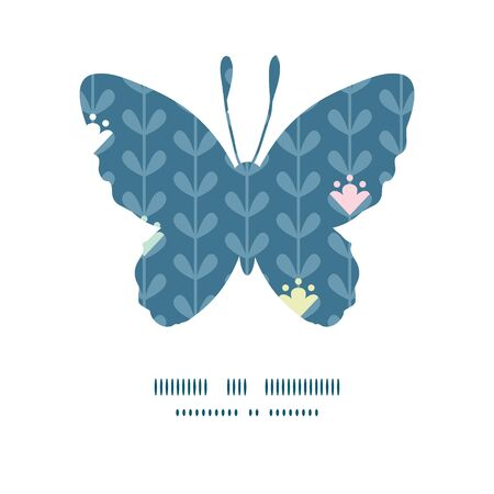 butterfly silhouette: Vector blloming vines stripes butterfly silhouette pattern frame