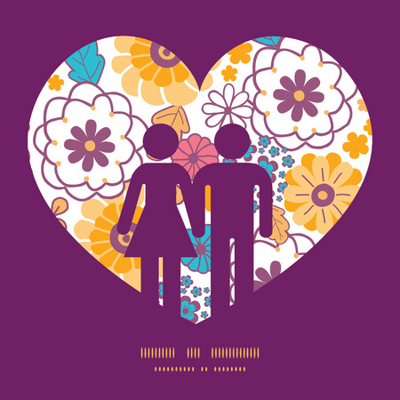Vector colorful oriental flowers couple in love silhouettes frame pattern invitation greeting card template Illustration