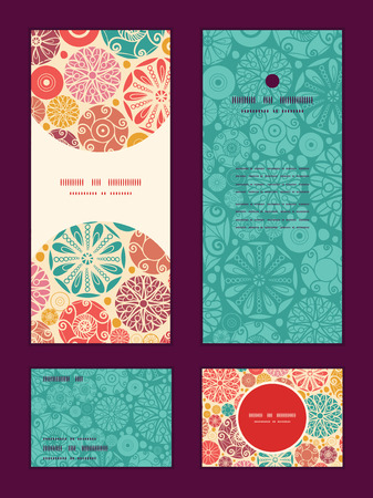 wheal: Vector abstract decorative circles vertical frame pattern invitation greeting, RSVP and thank you cards set