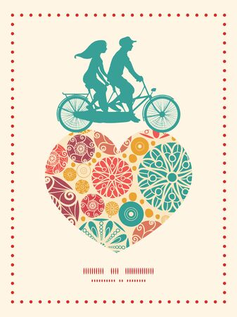 card: Vector abstract decorative circles couple on tandem bicycle heart silhouette frame pattern greeting card template