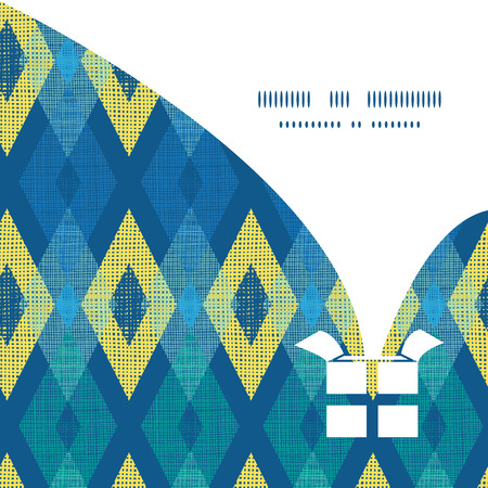 Vector colorful fabric ikat diamond Christmas gift box silhouette pattern frame card template