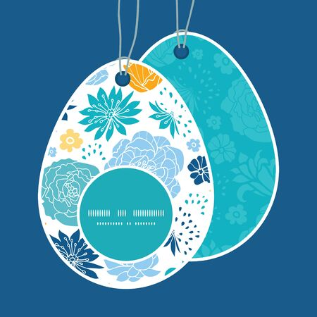 egg shaped: Vector blue and yellow flowersilhouettes Easter egg shaped tags set template