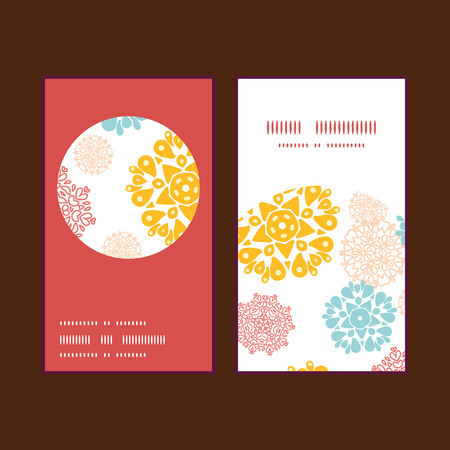wheal: Vector abstract decorative circles stars vertical round frame pattern business cards set