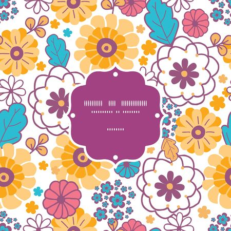 Vector colorful oriental flowers frame seamless pattern background