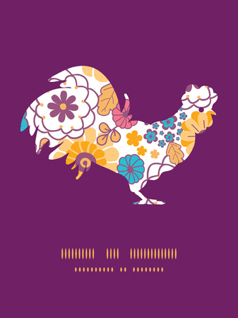 Vector colorful oriental flowers rooster silhouette Easter frame