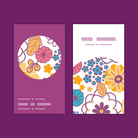 Vector colorful oriental flowers vertical round frame pattern business cards set