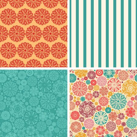 wheal: Vector abstract decorative circles set of four marching repeat patterns