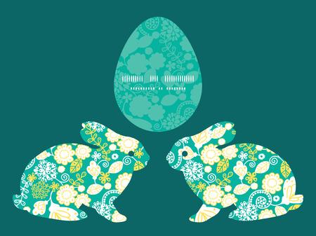 rabbit silhouette: Vector emerald flowerals bunny rabbit silhouette Easter frame