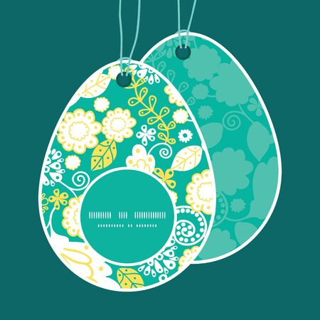 egg shaped: Vector emerald flowerals Easter egg shaped tags set template Illustration