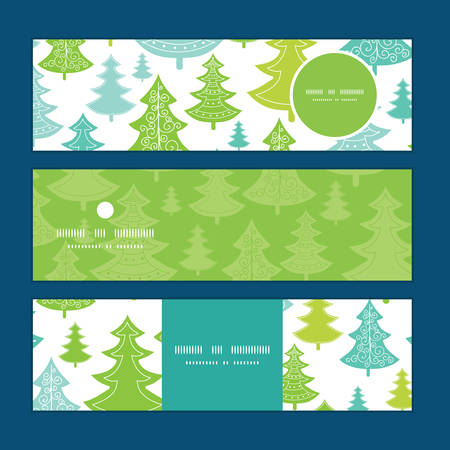 Vector holiday christmas trees horizontal banners set pattern background Vettoriali