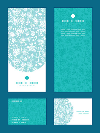 rsvp: Vector blue and white lace garden plants vertical frame pattern invitation greeting, RSVP and thank you cards set