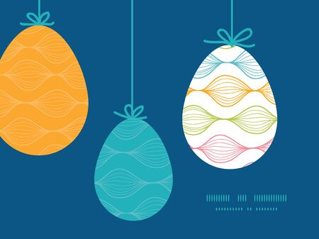 Vector colorful horizontal ogee hanging Easter eggs ornaments sillhouettes frame card template