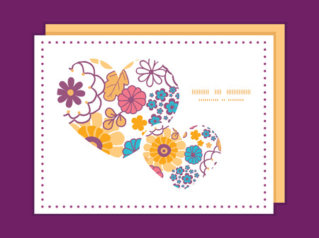Vector colorful oriental flowers heart symbol frame pattern invitation greeting card template Vector